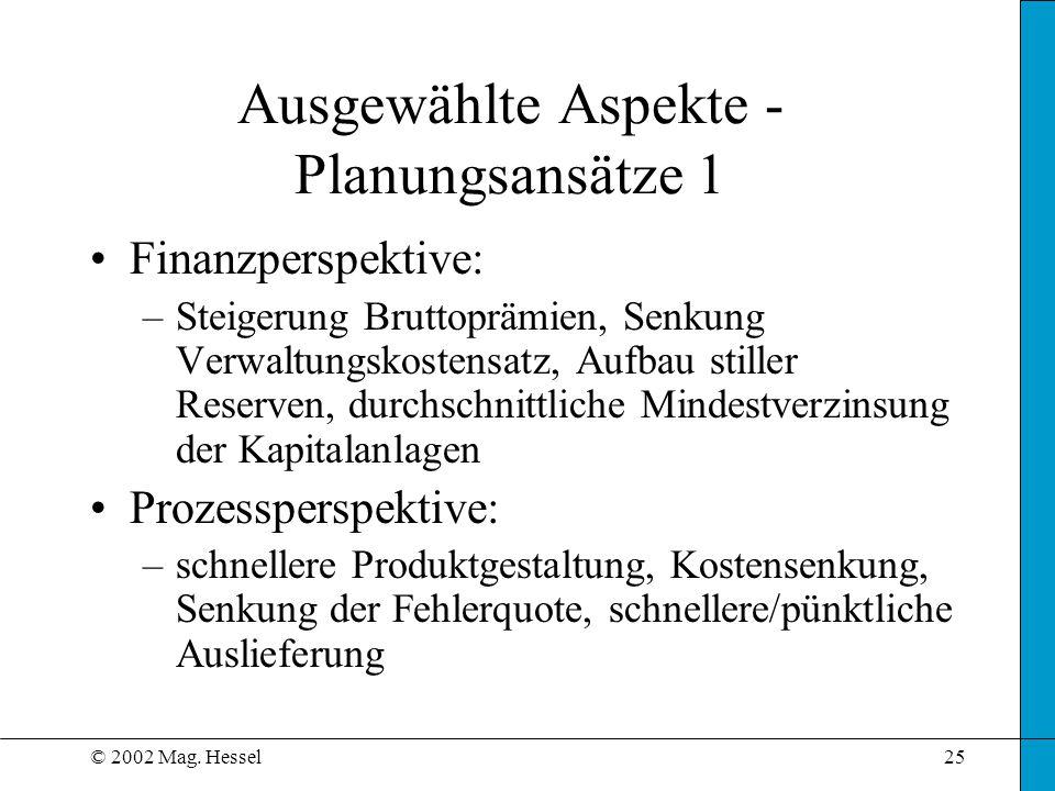 Ausgewählte Aspekte - Planungsansätze 1