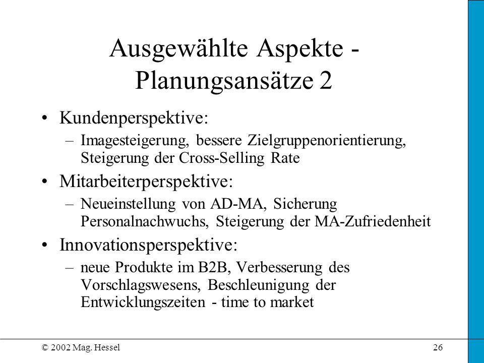 Ausgewählte Aspekte - Planungsansätze 2