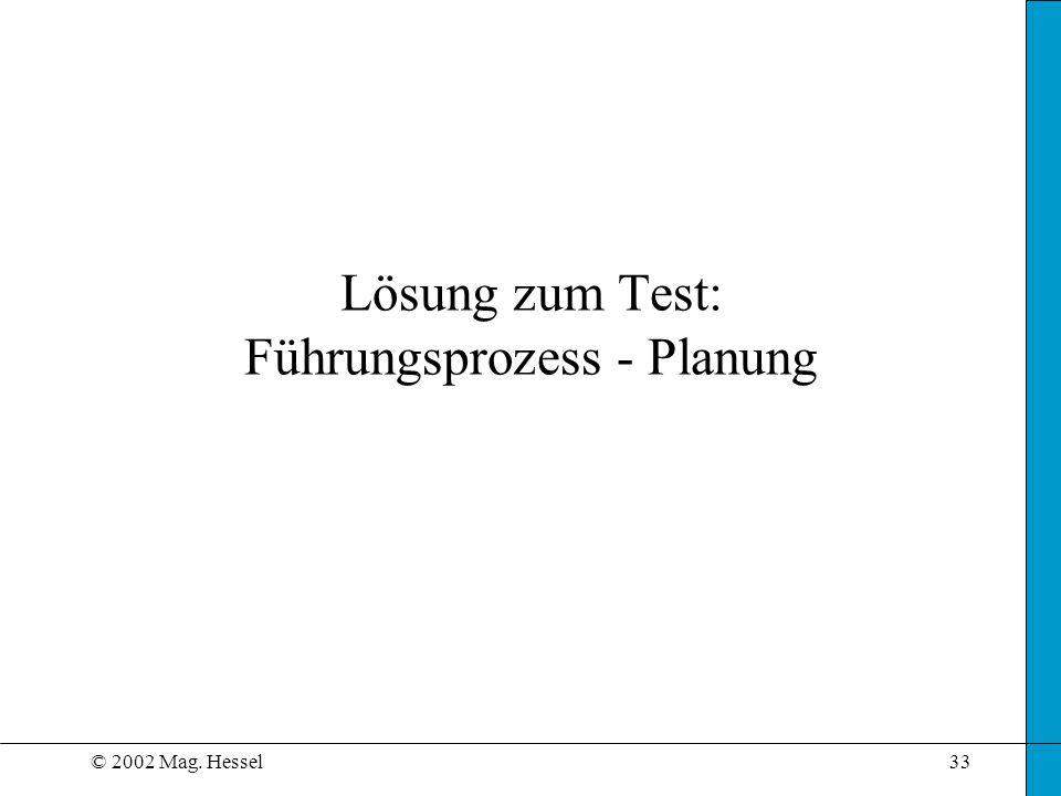 Lösung zum Test: Führungsprozess - Planung