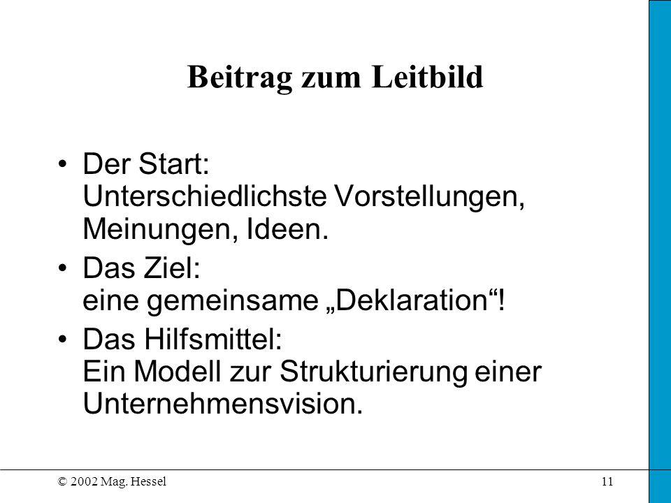 """Beitrag zum Leitbild Der Start: Unterschiedlichste Vorstellungen, Meinungen, Ideen. Das Ziel: eine gemeinsame """"Deklaration !"""
