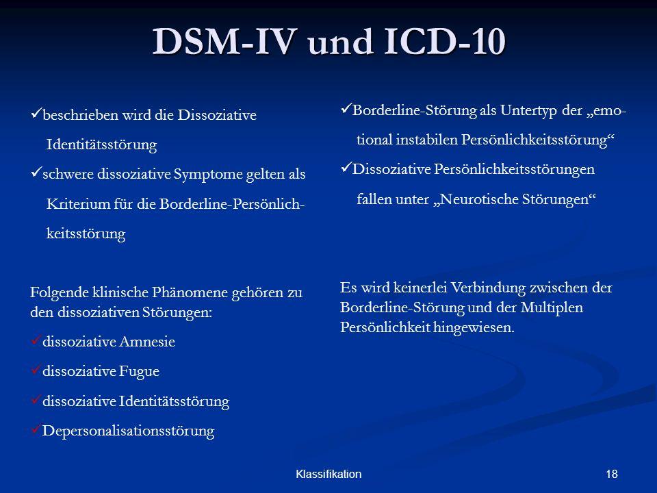DSM-IV und ICD-10 Borderline-Störung als Untertyp der ,,emo-