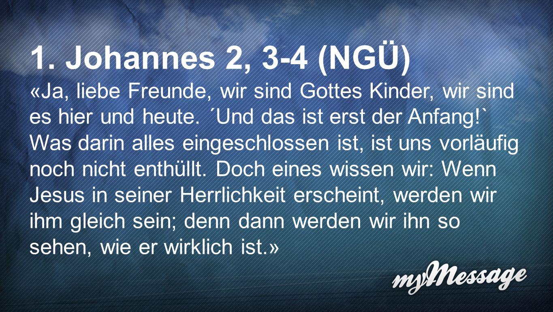1. Johannes 2,3-4 (NGÜ) 1. Johannes 2, 3-4 (NGÜ)