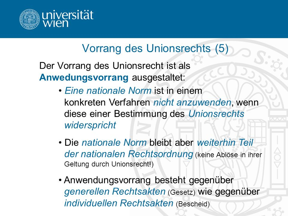 Vorrang des Unionsrechts (5)