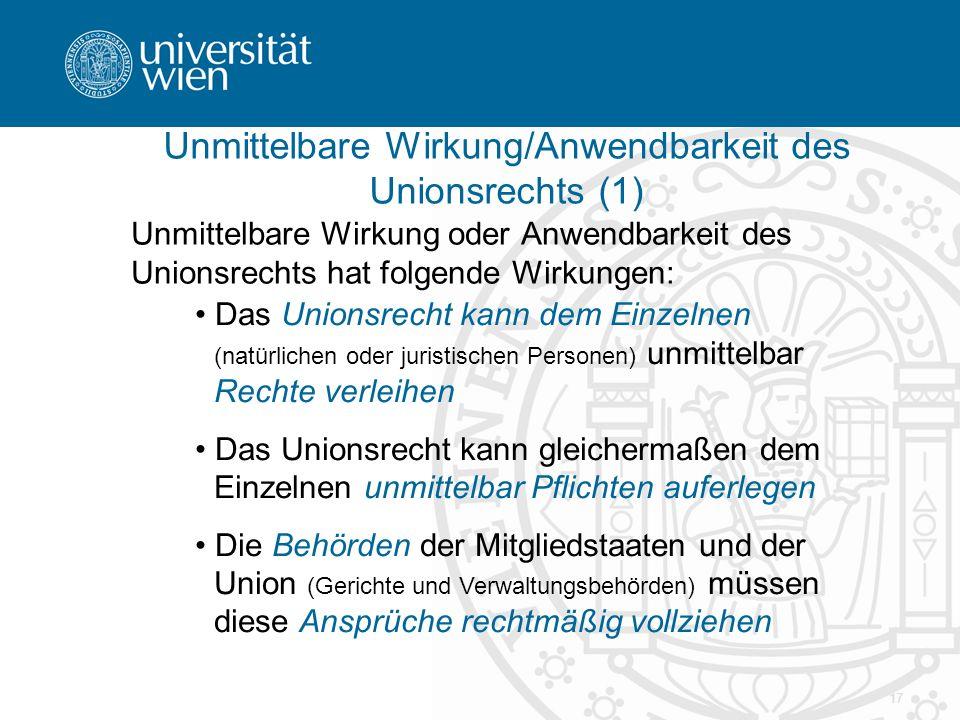 Unmittelbare Wirkung/Anwendbarkeit des Unionsrechts (1)
