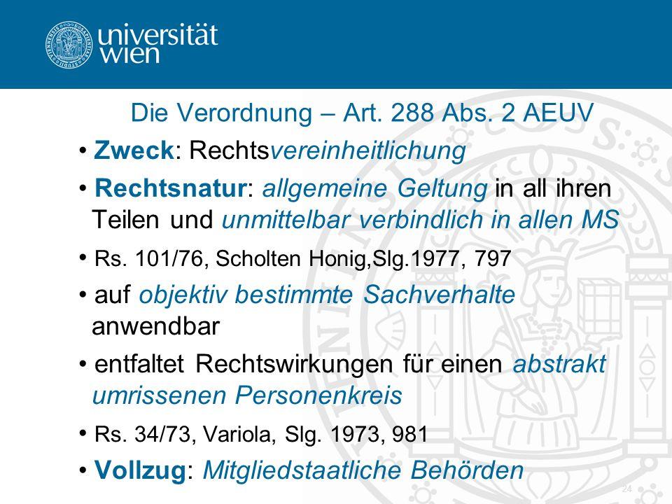 Die Verordnung – Art. 288 Abs. 2 AEUV