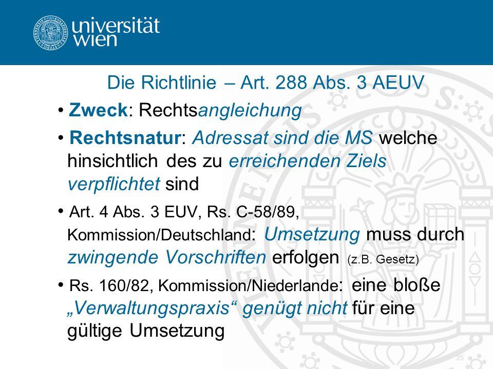 Die Richtlinie – Art. 288 Abs. 3 AEUV