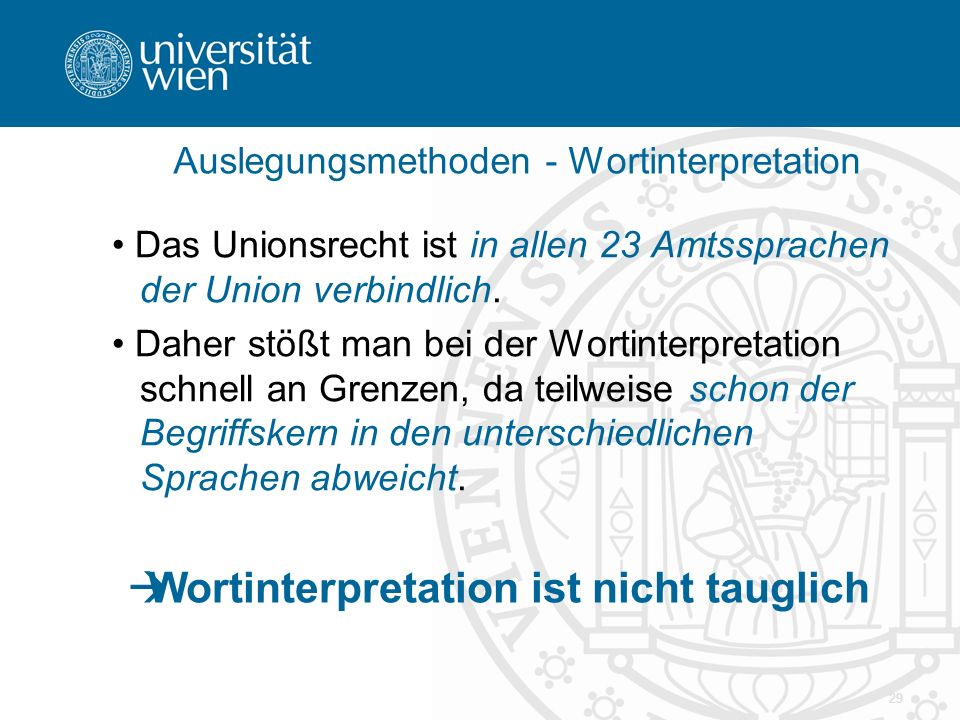 Auslegungsmethoden - Wortinterpretation