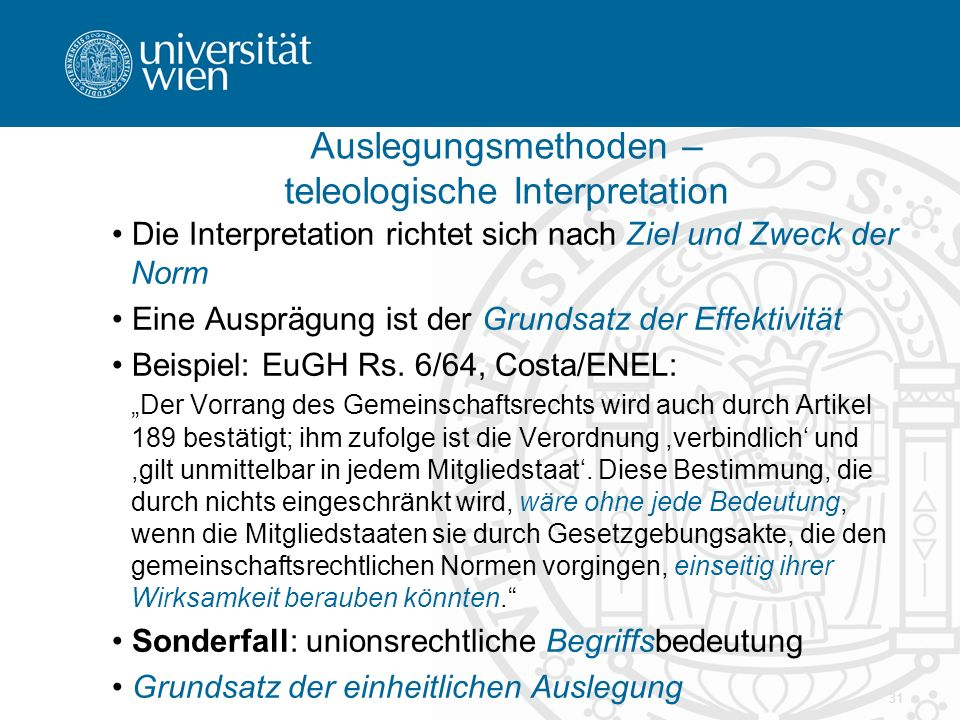 Auslegungsmethoden – teleologische Interpretation