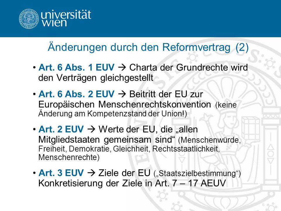 Änderungen durch den Reformvertrag (2)