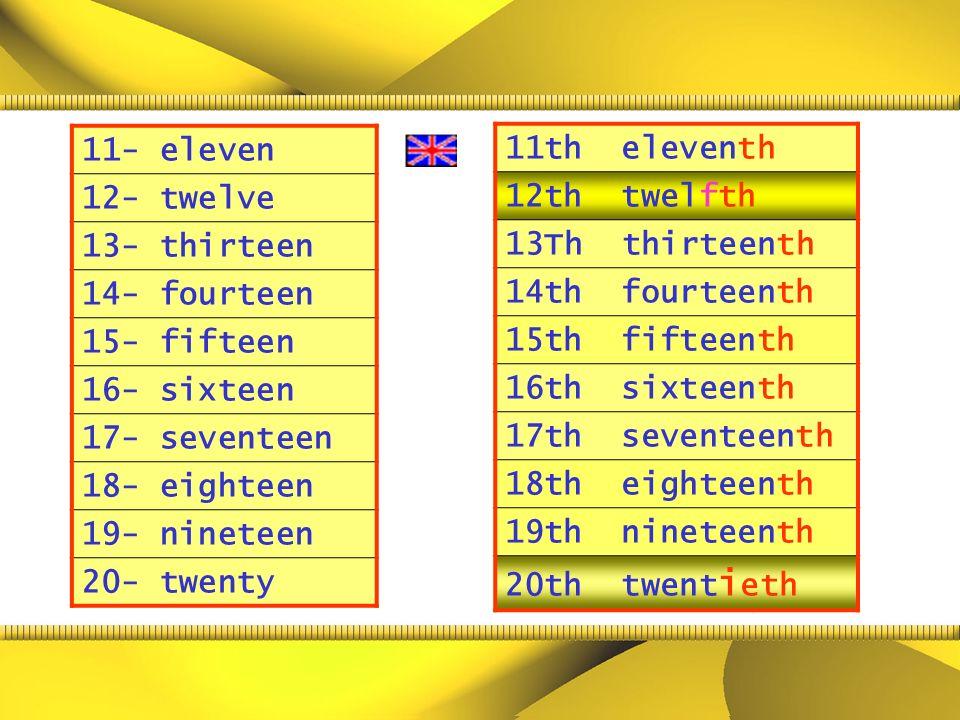 11- eleven 12- twelve. 13- thirteen. 14- fourteen. 15- fifteen. 16- sixteen. 17- seventeen. 18- eighteen.