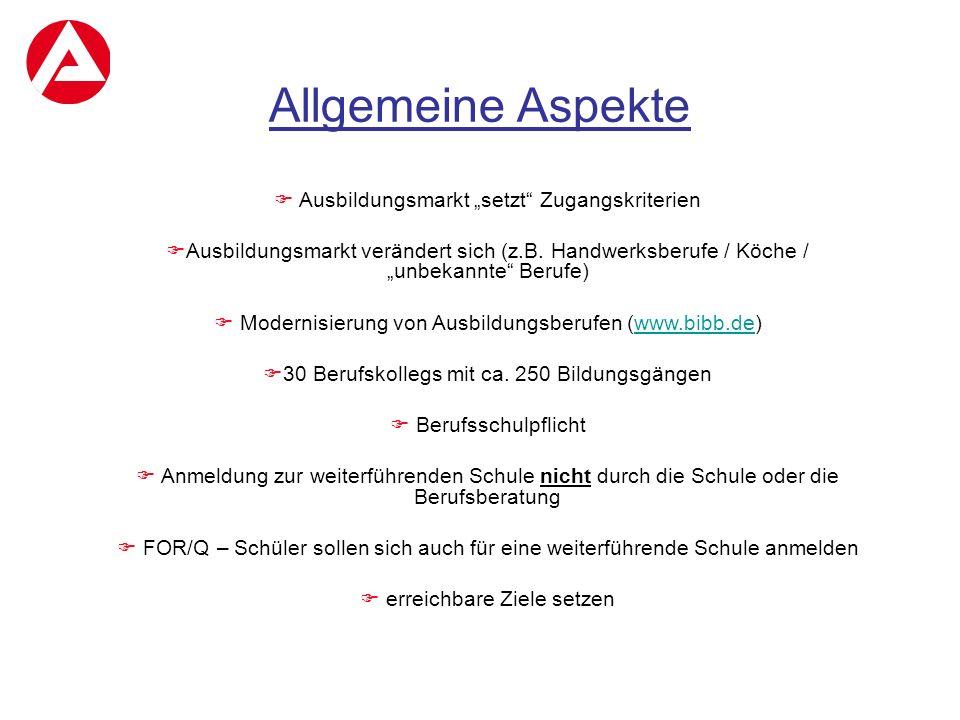 """Allgemeine Aspekte Ausbildungsmarkt """"setzt Zugangskriterien"""