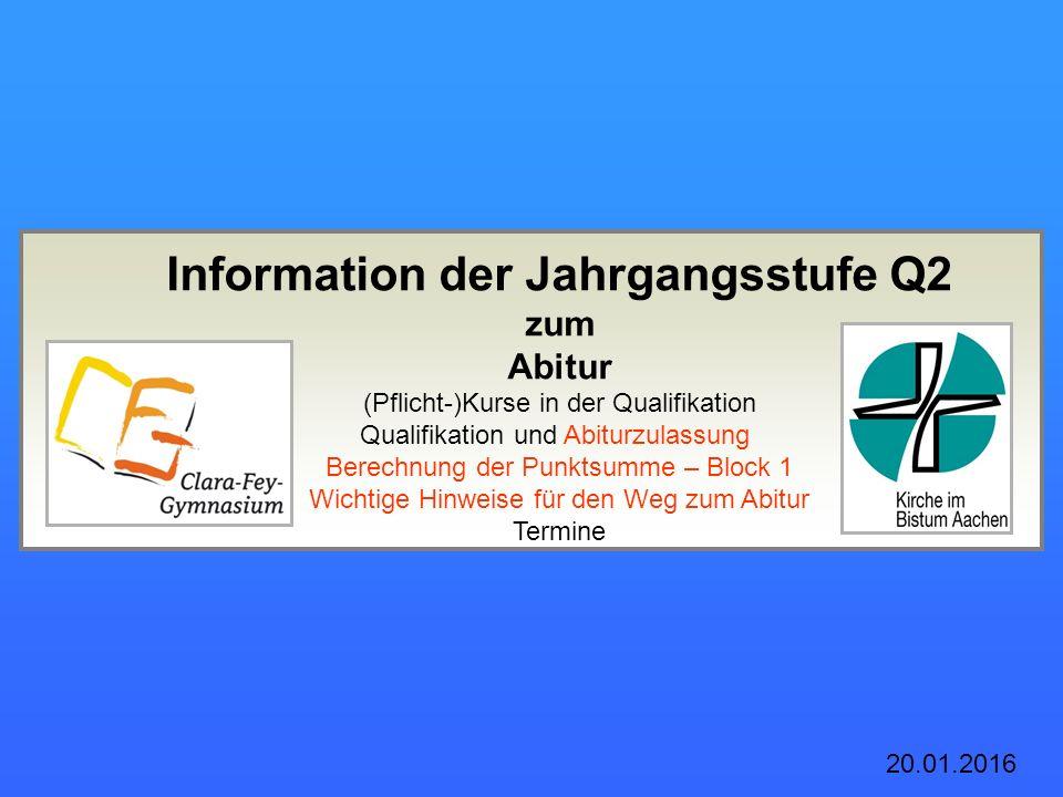 Information der Jahrgangsstufe Q2