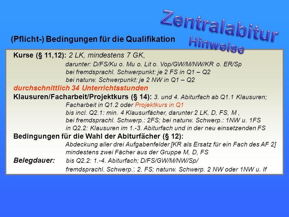 Zentralabitur Hinweise (Pflicht-) Bedingungen für die Qualifikation