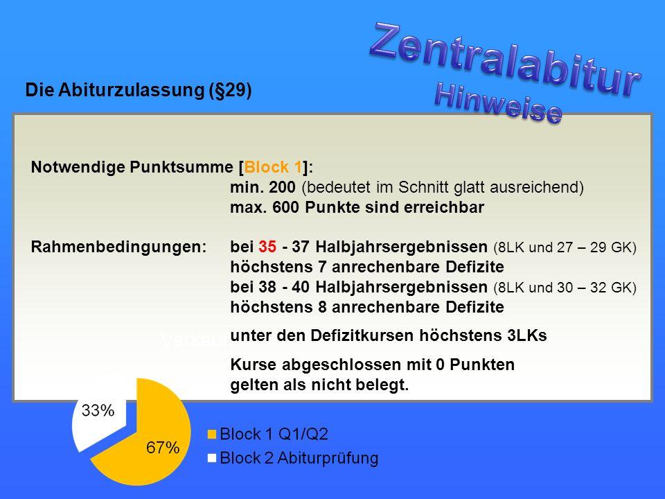 Zentralabitur Hinweise Die Abiturzulassung (§29)