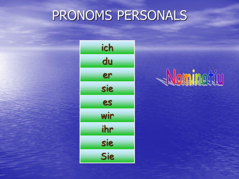 PRONOMS PERSONALS ich du er sie es wir ihr Sie Nominatiu