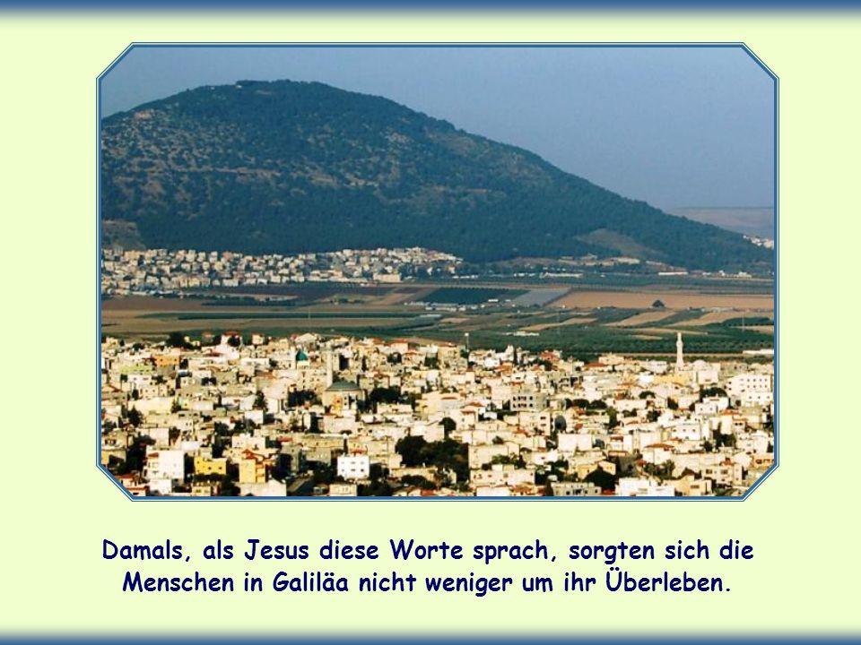 Damals, als Jesus diese Worte sprach, sorgten sich die Menschen in Galiläa nicht weniger um ihr Überleben.