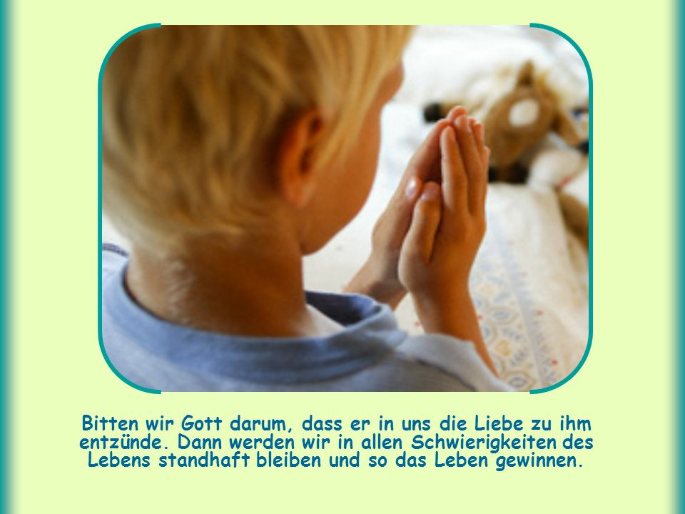 Bitten wir Gott darum, dass er in uns die Liebe zu ihm entzünde