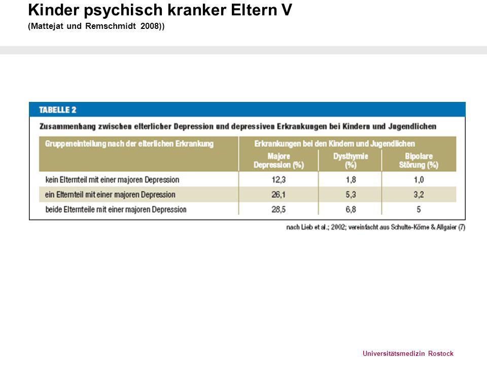 Kinder psychisch kranker Eltern V (Mattejat und Remschmidt 2008))
