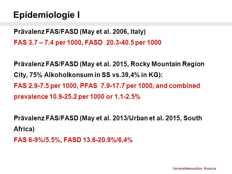 Epidemiologie I Prävalenz FAS/FASD (May et al. 2006, Italy)
