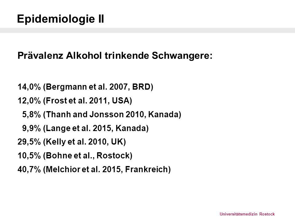 Epidemiologie II Prävalenz Alkohol trinkende Schwangere: