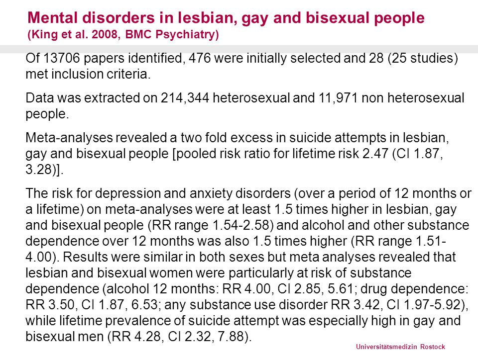 Mental disorders in lesbian, gay and bisexual people (King et al