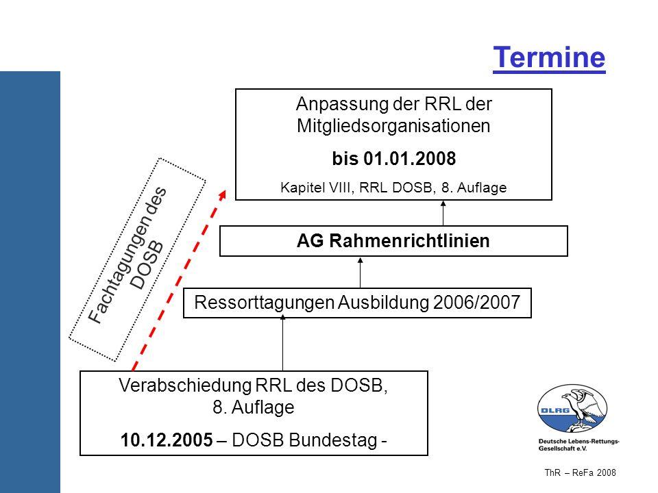 Termine Anpassung der RRL der Mitgliedsorganisationen bis 01.01.2008
