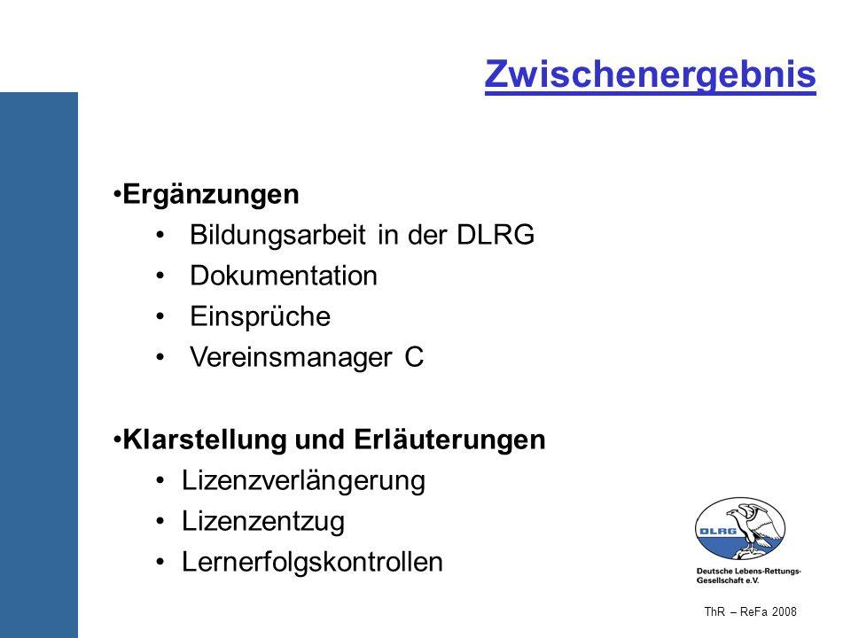 Zwischenergebnis Ergänzungen Bildungsarbeit in der DLRG Dokumentation