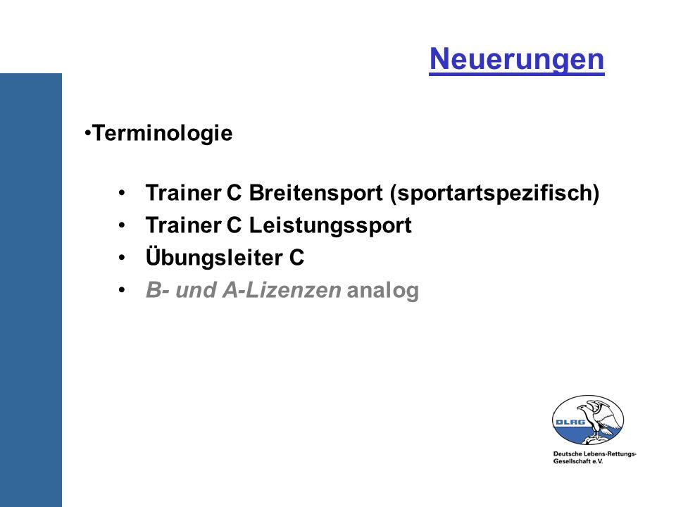 Neuerungen Terminologie Trainer C Breitensport (sportartspezifisch)