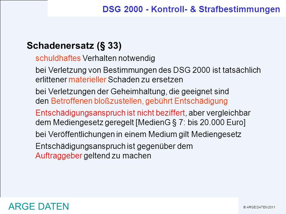 Schadenersatz (§ 33) ARGE DATEN