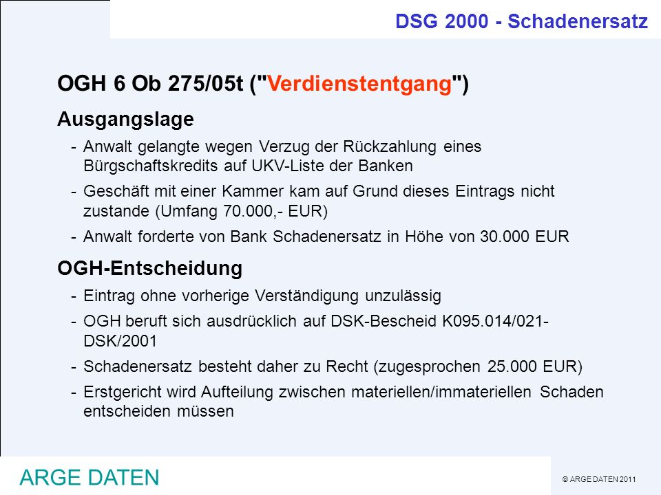 OGH 6 Ob 275/05t ( Verdienstentgang )