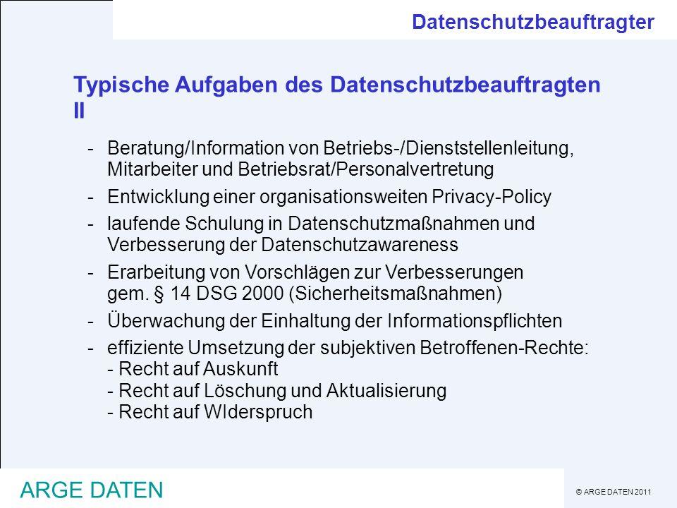 Typische Aufgaben des Datenschutzbeauftragten II