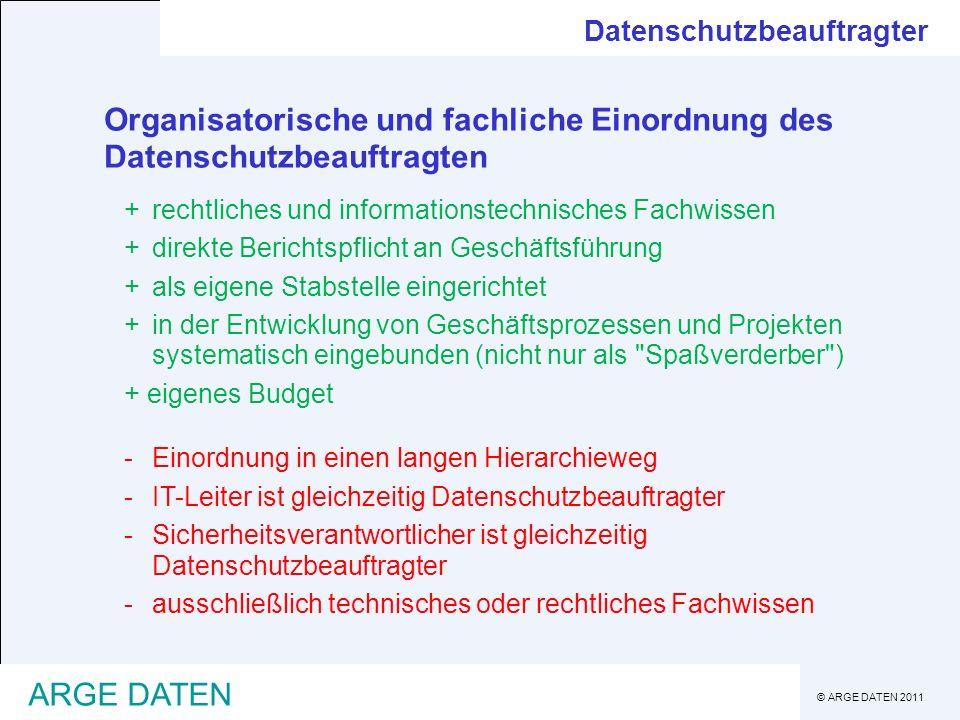 Organisatorische und fachliche Einordnung des Datenschutzbeauftragten