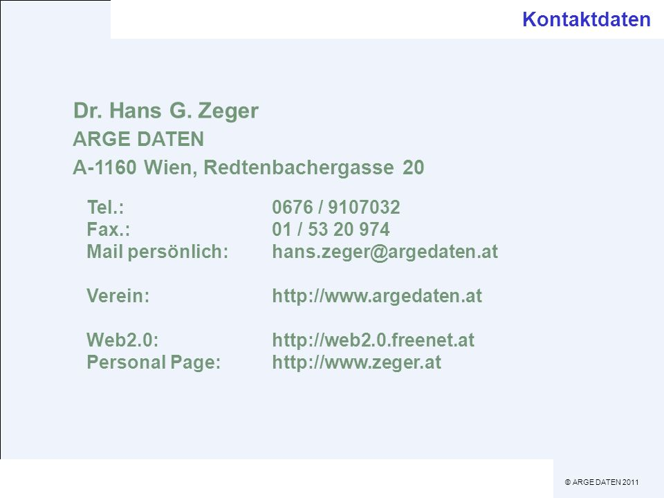 Dr. Hans G. Zeger Kontaktdaten ARGE DATEN