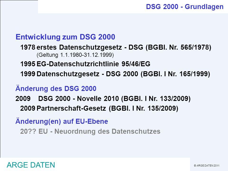 Entwicklung zum DSG 2000 ARGE DATEN DSG 2000 - Grundlagen