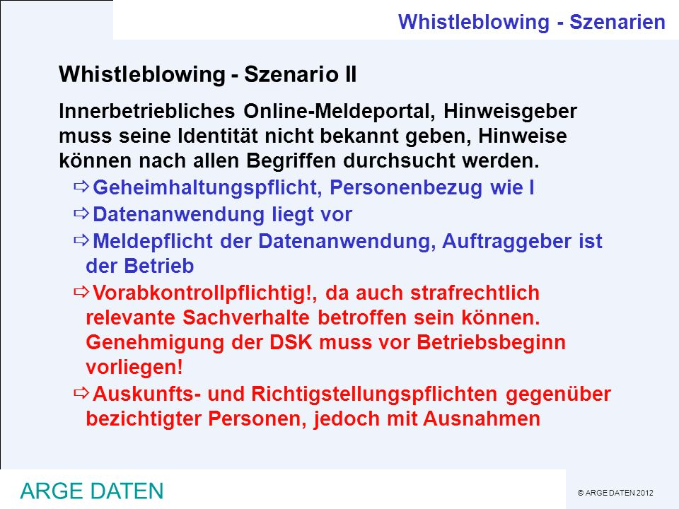 Whistleblowing - Szenario II