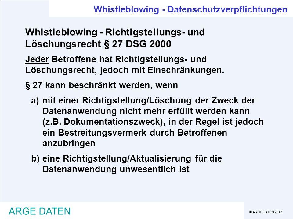 Whistleblowing - Richtigstellungs- und Löschungsrecht § 27 DSG 2000