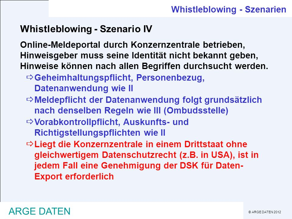 Whistleblowing - Szenario IV