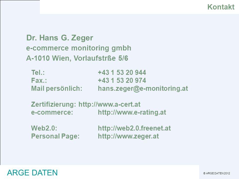 Dr. Hans G. Zeger ARGE DATEN Kontakt e-commerce monitoring gmbh