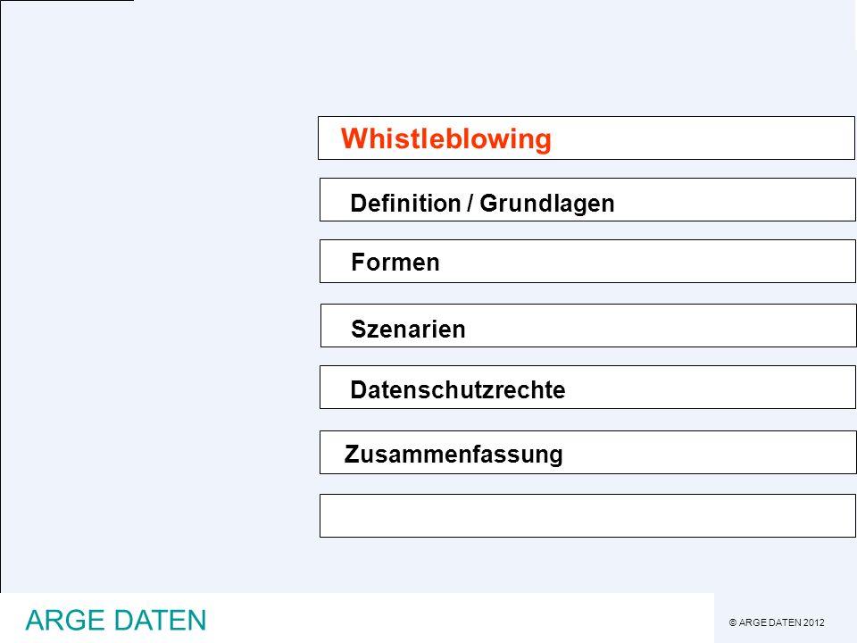 Whistleblowing Zusammenfassung ARGE DATEN Definition / Grundlagen