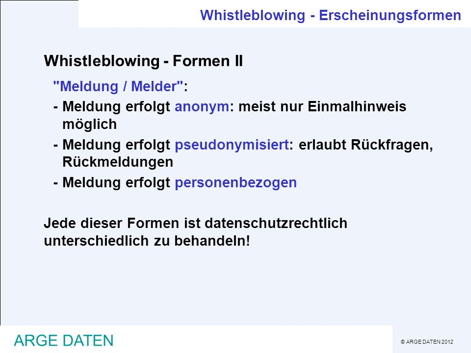 Whistleblowing - Formen II