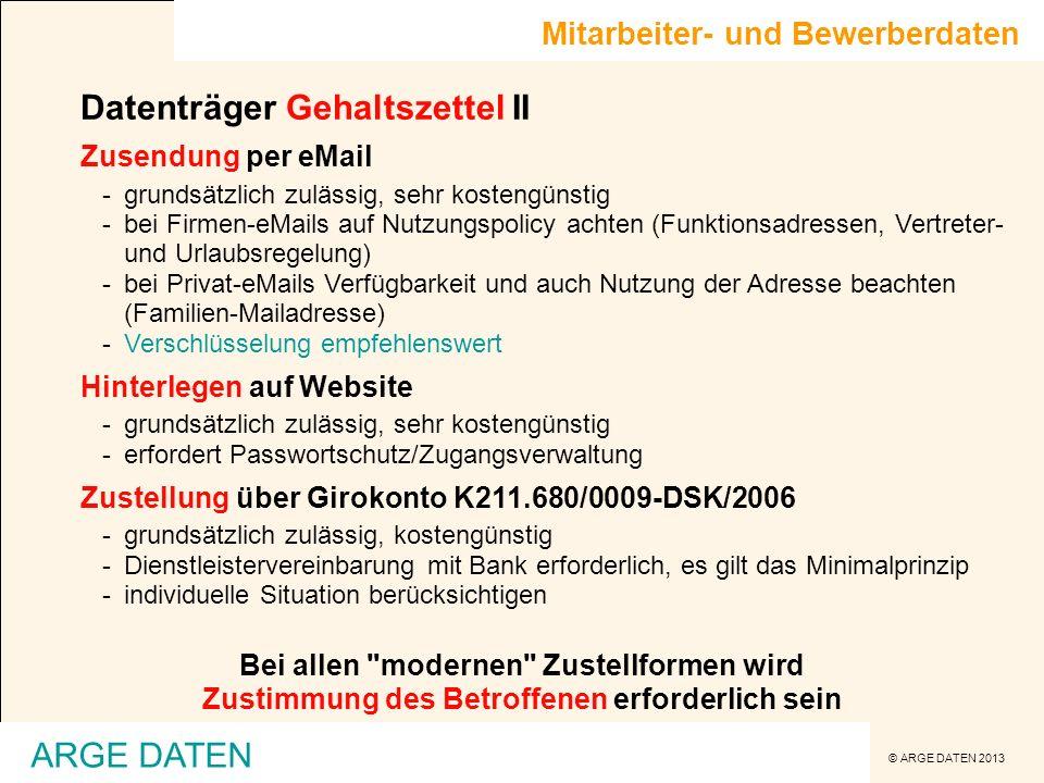 Datenträger Gehaltszettel II