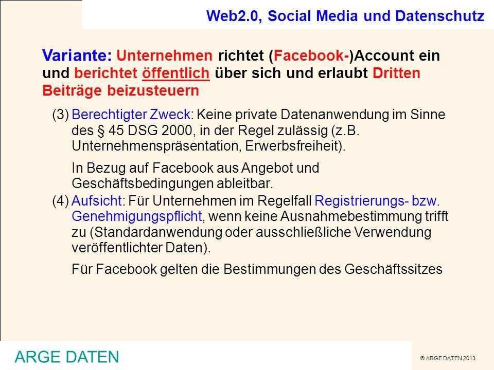 Web2.0, Social Media und Datenschutz
