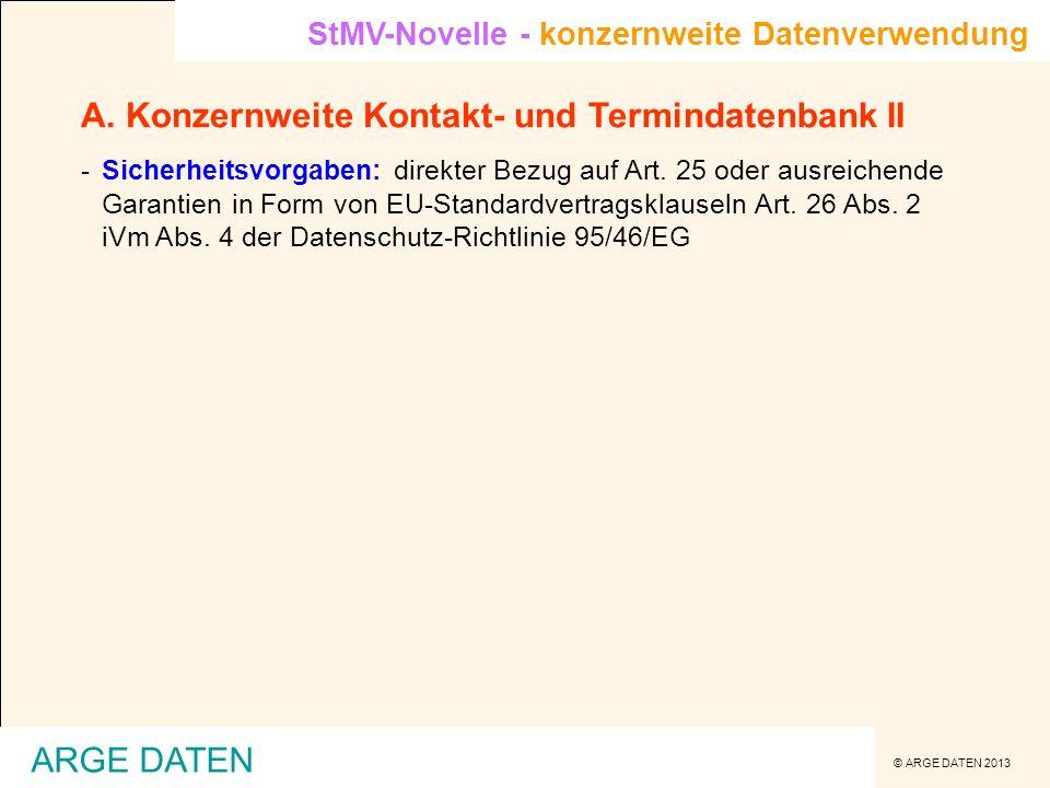 A. Konzernweite Kontakt- und Termindatenbank II