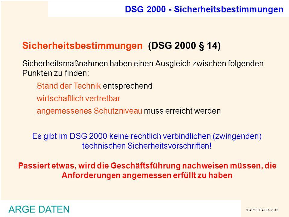 Sicherheitsbestimmungen (DSG 2000 § 14)