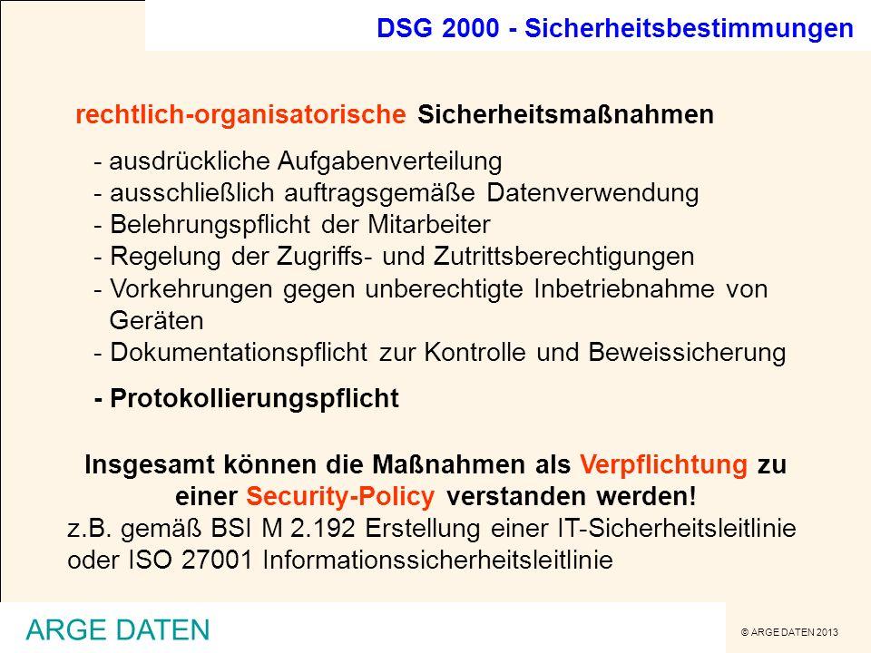 ARGE DATEN DSG 2000 - Sicherheitsbestimmungen