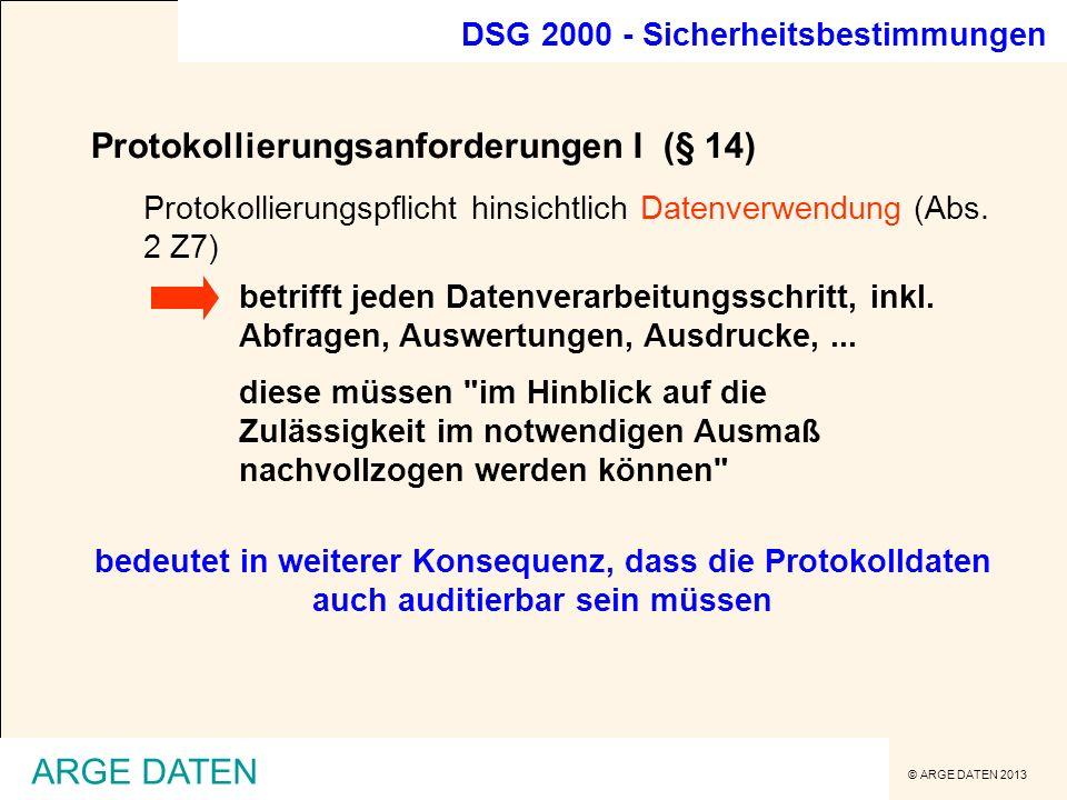 Protokollierungsanforderungen I (§ 14)