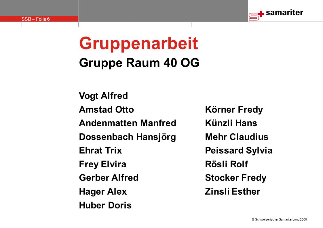 Gruppenarbeit Gruppe Raum 40 OG Vogt Alfred Amstad Otto Körner Fredy