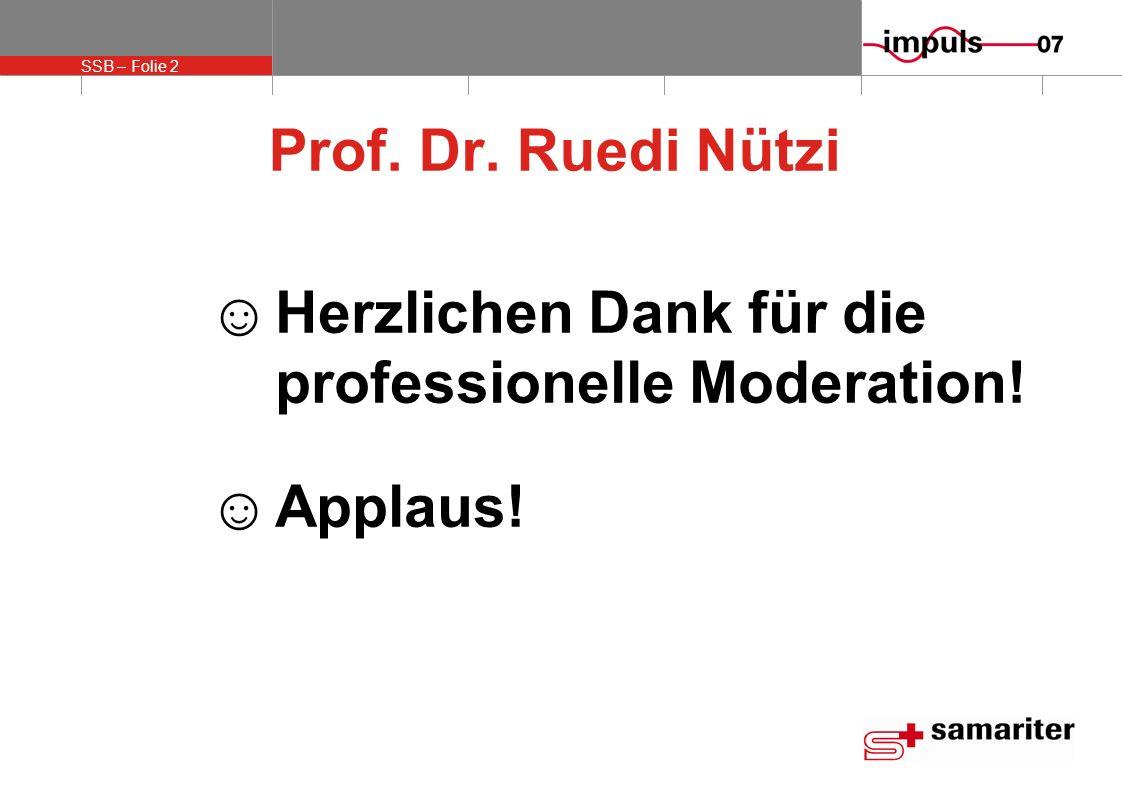 Prof. Dr. Ruedi Nützi Herzlichen Dank für die professionelle Moderation! Applaus!