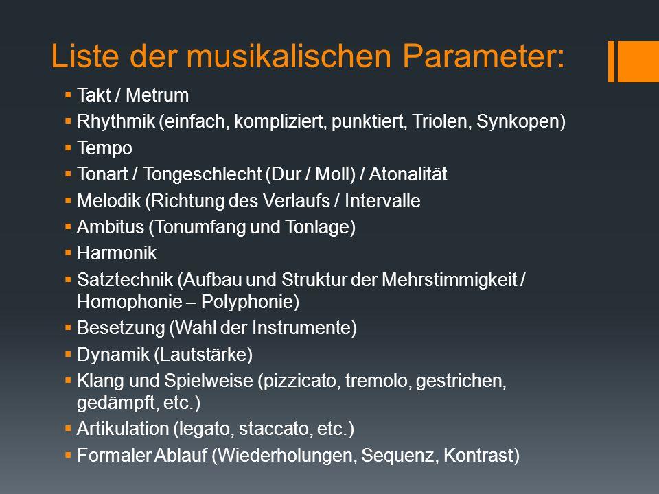 Liste der musikalischen Parameter: