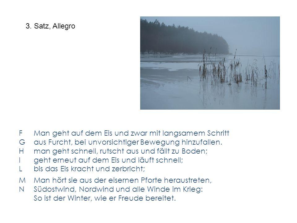 3. Satz, Allegro F Man geht auf dem Eis und zwar mit langsamem Schritt. G aus Furcht, bei unvorsichtiger Bewegung hinzufallen.